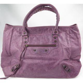 Balenciaga Classic Sunday Hand City Purple Leather Bag
