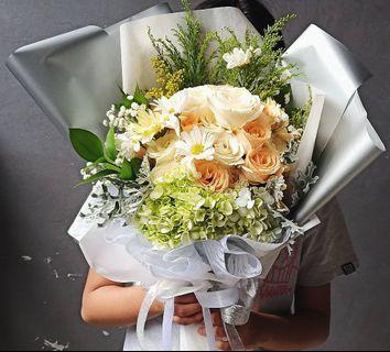 Korean Style Flower Hand Bouquet - Graduation, Bridal, Engagement