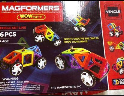 🚚 Magformers 16 piece wow vehicle set with wheels