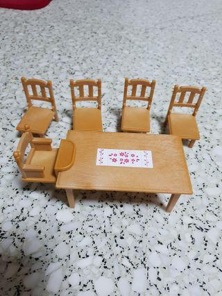 Sylvanian Families Calico Critters Kitchen Furniture Dining Table Set