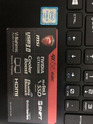 MSI laptop for sale.