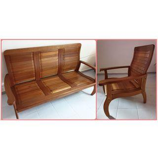 Antique Wood Frame Sofa (3 seater + single seater)