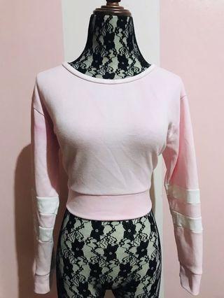 Pink Basic Crop Top Sweater
