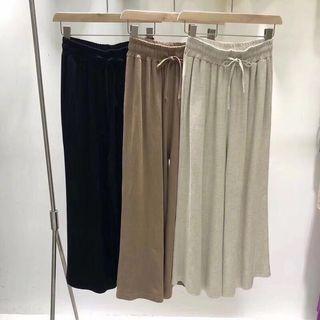 🚚 全新✨韓版棉麻麻料杏色綁帶鬆緊寬褲長褲