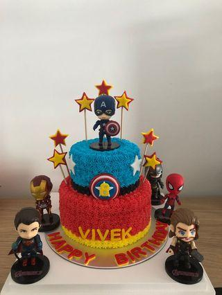 2 Tier Super Hero Theme Cake