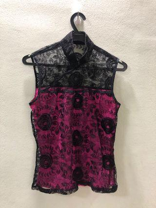 🚚 Oriental black lace top with hot pink lining