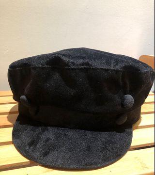 海軍帽 黑色 絨布