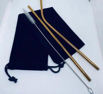 BN Metal Reusable Straw Set + Black Velvet Pouch