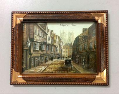 Vintage Petergate York Art Print Framed 18x14cms