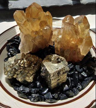 Natural Crystals Black tourmaline chips quartz gold pyrite home office protection relaxation