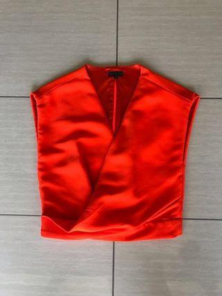 Sheike neon orange wrap crop top | size 6