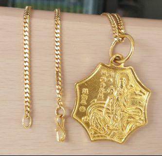 Rare vintage gold pendant chain necklace octagon goddess mercy yin yang 916 tao