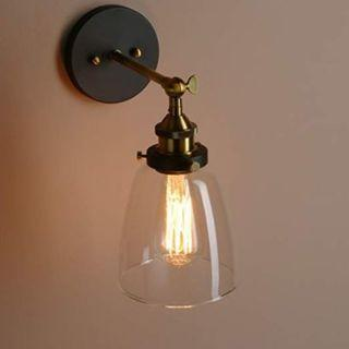 Pathson Industrial Vintage Wall Lights Fitting Loft Sconce Wall Lamp Corridor Lighting Fixture with 14cm Bell Clear Glass Lampshade (Antique), New