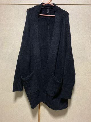 FACTORIE OVERSIZED BLACK KNITTED OUTERWEAR/CARDIGAN