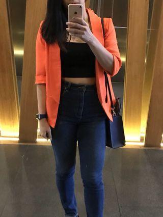 Neon orange blazer ⚡️ FREE SHIP