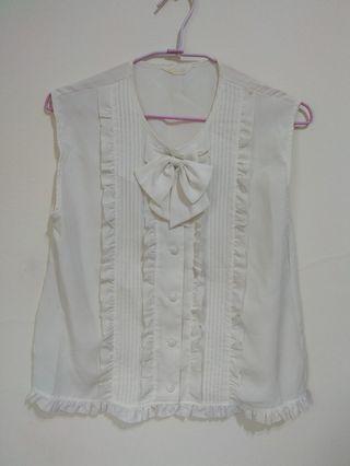 含運轉賣 A prank dolly古著荷葉邊白色無袖襯衫
