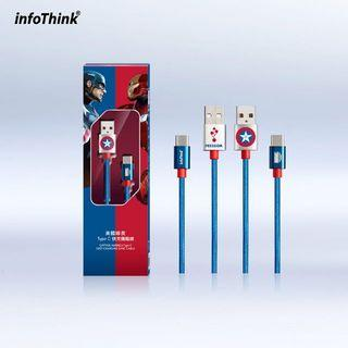 台灣 代購 預購 Marvel 限量 Captain America 美國隊長 Type C 快充 傳輸線 Cable