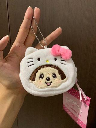 hello kitty x monchhichi keychain pouch