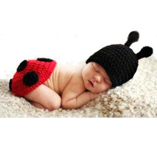 Baby knitted costume red bug photography prop
