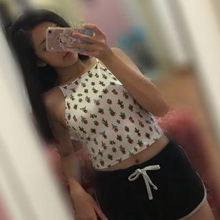 Forever 21 cactus halter top girls teenager woman perempuan tshirt tee