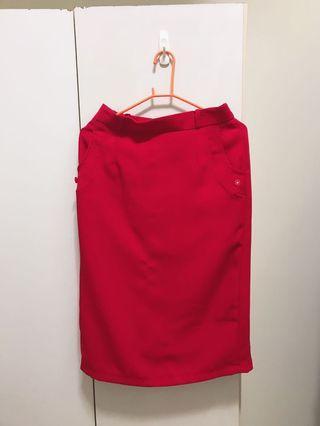 🚚 (超喜氣)大紅色中長裙
