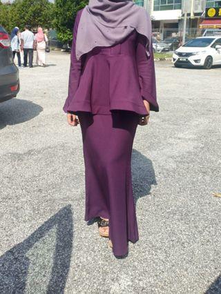 Purple Peplum Kurung