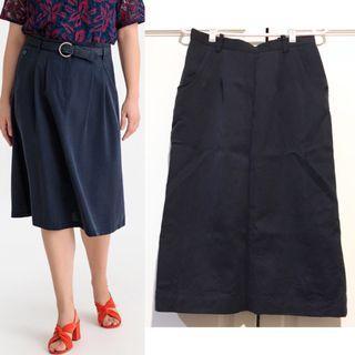 Vintage Navy Blue Midi Skirt