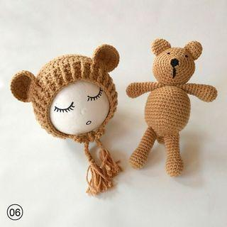 Baby knitted cute bear costume photography prop