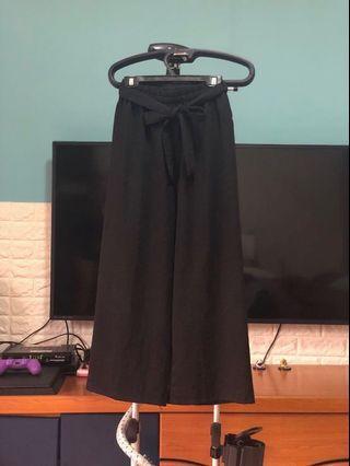 全新 黑色雪紡寬褲