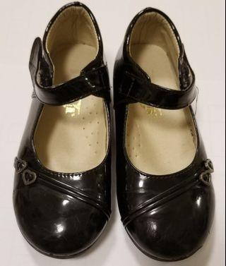 女童 黑色返學皮鞋 10碼