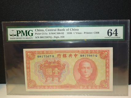 中華民國25年(1936年)中央銀行壹圓1元一元