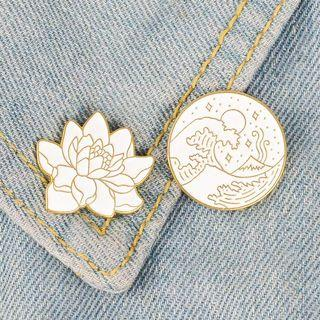 [BUY 3 FREE 1] lotus and wave tumblr enamel pin