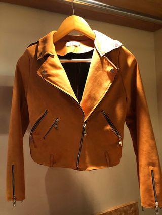 Faux suede biker jacket in camel brown