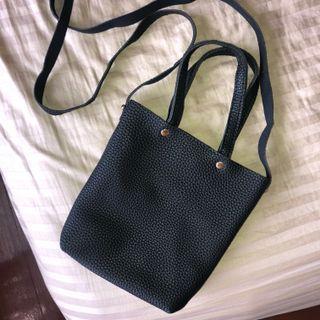 Black faux leather sling bag