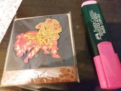 紙雕賀卡 醒獅 lion dance  Hong Kong souvenir postalk
