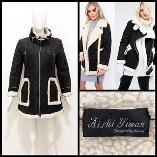 Aishi faux shearling suede coat / jacket
