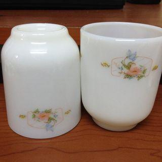 *台灣老物*浪漫田園風印花牛奶玻璃杯 多用途 擺飾 植栽 筆筒 小物收納