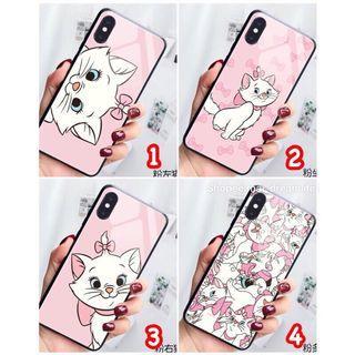 🍎I Phone全型號、Oppo R15/R15 pro/R17瑪麗貓 貓咪Marie Cat 鋼化玻璃防摔防刮手殼0