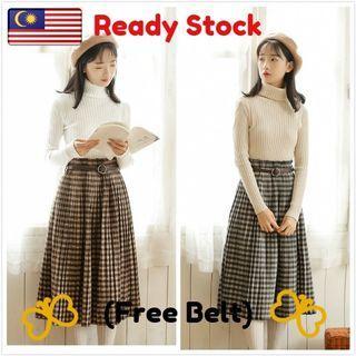 High Waist Plaif Checker Long Skirt