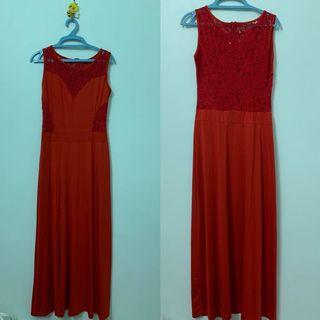 Lace Red Long Dress