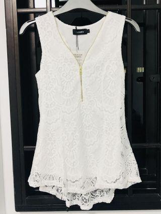 🚚 White Lacy Sleeveless Top