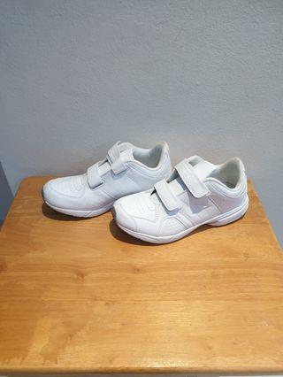 Children white school shoes