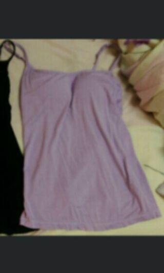 罩杯 內衣 內搭背心 白 / 紫