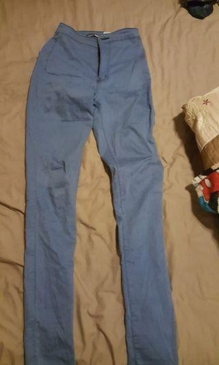blue high waist jeans