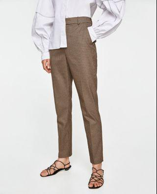 ZARA WOMAN Plaid Brown Highwaisted Trousers