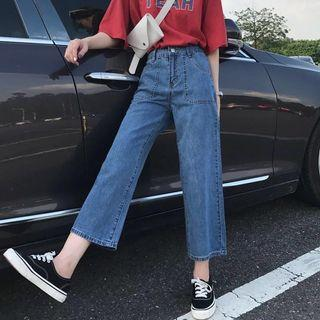 Jeans Cropped Wide Pants