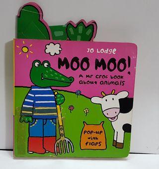Children reading book- MOO MOO!