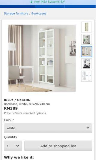 2 x Billy / Oxberg White Bookcase Include Delivery