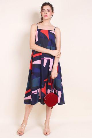 🚚 Looking: NM neonmello irina geometric trapeze midi dress navy