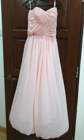 Floor length pink bustier dress